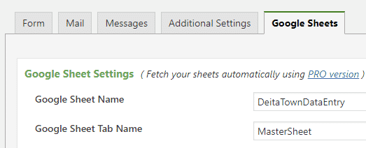 configure google sheets connector with sheet name and tab name