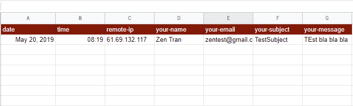 must-have data for contact form in google sheet