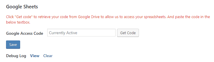 google access code currently active in cf7 connector