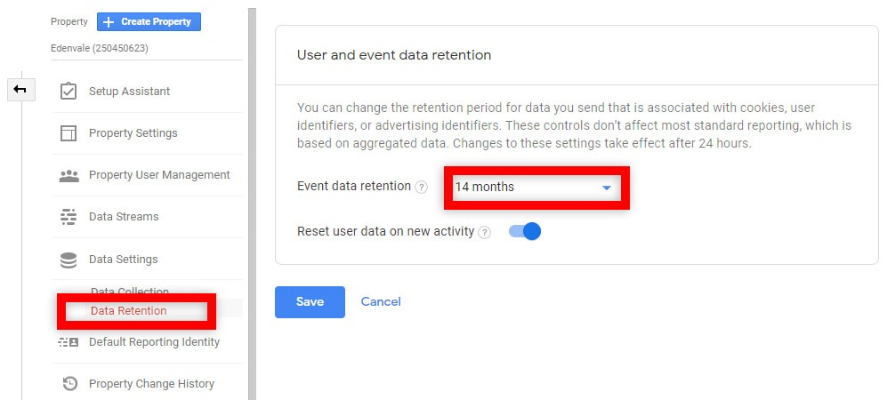 enable 14 months for data retention in ga4
