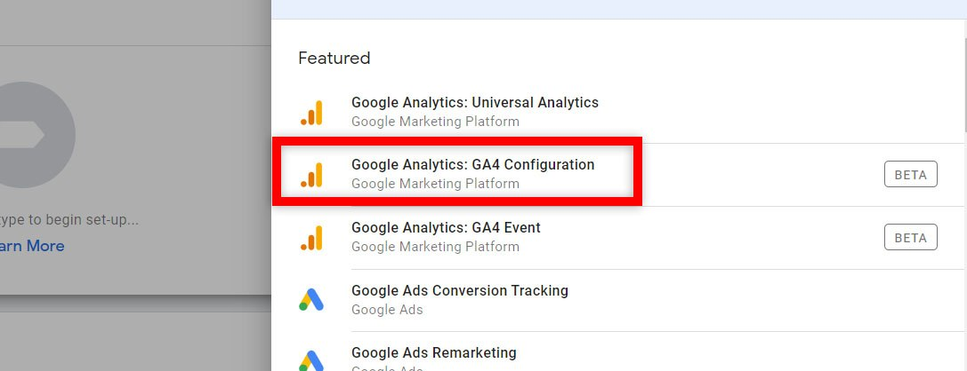 create the google analytics ga4 configuration tag in google tag manager