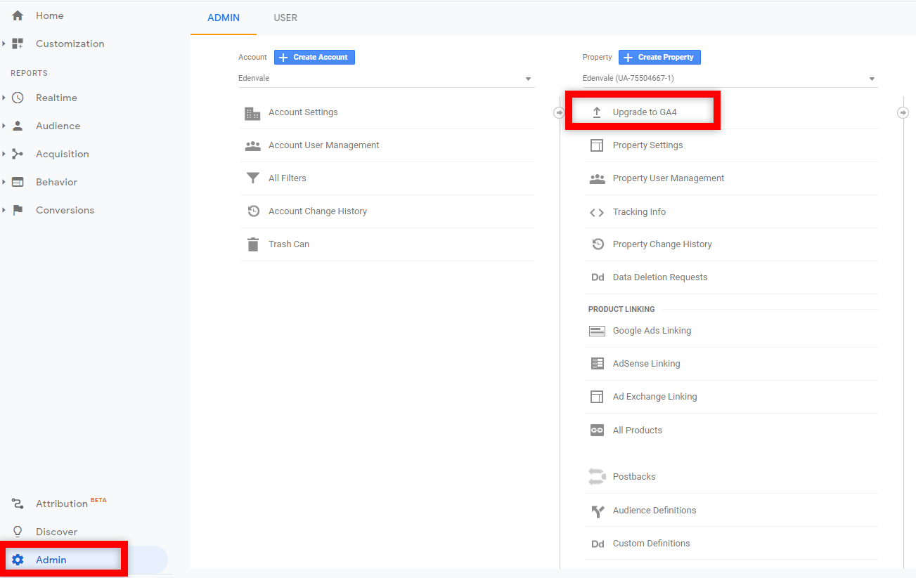 a window shows where to upgrade the existing google analytics property to ga4